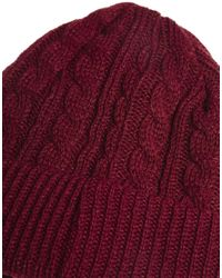 French Connection | Red Cable Knit Beanie for Men | Lyst