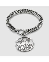 Gucci   Metallic Flora Bracelet In Sterling Silver   Lyst