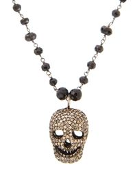 Bavna | Metallic Pave Diamond Skull Pendant Necklace | Lyst