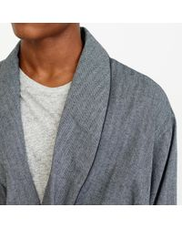 J.Crew | Gray Herringbone Flannel Robe for Men | Lyst