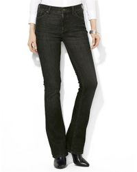 Lauren by Ralph Lauren | Black Super Stretch Slimming Classic Straight Jeans | Lyst