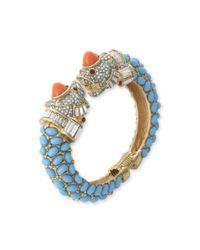 Kenneth Jay Lane | Blue Turquoise Pavé Animal Head Bracelet | Lyst