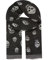 Alexander McQueen | Black Hibiscus Skulls Silk & Wool Scarf - For Men for Men | Lyst
