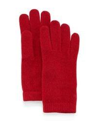 Portolano   Red Cashmere Basic Knit Gloves   Lyst
