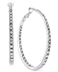 Guess | Metallic Silver-tone Pavé Crystal Hoop Earrings | Lyst