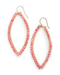 Ki-ele | Pink 'lani' Drop Earrings - Coral | Lyst