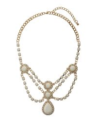 Mikey | White V Neck Multi Crystals Necklace | Lyst