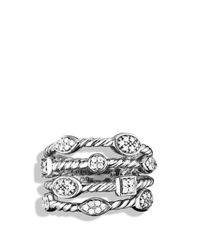 David Yurman - Metallic Confetti Four-row Ring With Diamonds - Lyst