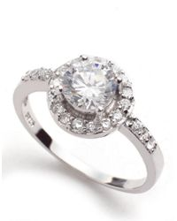 Lord & Taylor | Metallic Sterling Silver And Cubic Zirconia Pave Solitaire Ring | Lyst