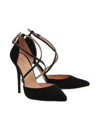 Office | Black Trapped Strap Point Court Heels | Lyst