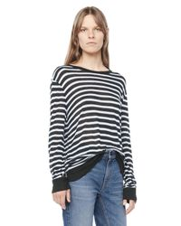 Alexander Wang | Black Stripe Linen Long Sleeve Tee | Lyst