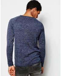 SELECTED | Blue Elected Homme Lightweight Knitted Jumper With Raw Edge for Men | Lyst