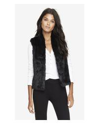Express - Black Faux Fur Vest - Lyst