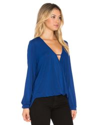Krisa - Blue Long Sleeve Surplice Top - Lyst