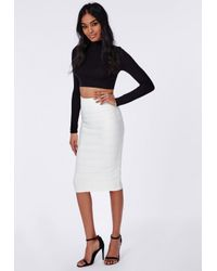 Missguided   Bandage Effect Midi Skirt White   Lyst