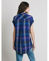 Free People - Blue Cap Sleeve Plaid Buttondown - Lyst