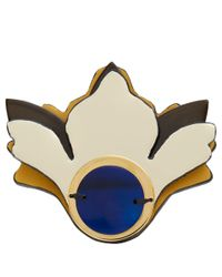 Marni - Natural Cream Flower Leather And Horn Brooch - Lyst