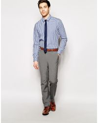 ASOS - White Smart Shirt In Long Sleeve With Medium Gingham Check for Men - Lyst