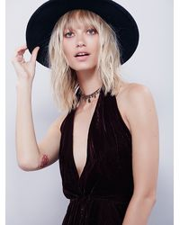Free People - Brown Womens Velvet Deep V Halter - Lyst