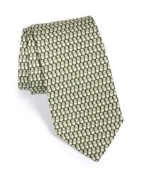 Ferragamo Green Panda Print Silk Tie for men