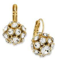 kate spade new york | Metallic 12k Gold-plated Crystal Ball Drop Earrings | Lyst