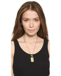 Michael Kors Metallic Mk Monogram Dog Tag Necklace - Gold