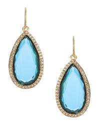 Lauren by Ralph Lauren - Blue Pave Stone Drop Earrings - Lyst