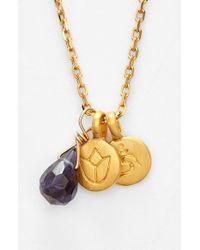 Satya Jewelry | Blue Cluster Pendant Necklace - Iolite- Lotus Om | Lyst