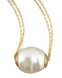 Majorica - Metallic Gold Pearl Pendant Necklace - Lyst