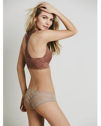 Free People - Brown Galloon Lace Racerback - Lyst
