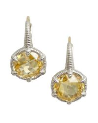 Judith Ripka | Yellow Canary Crystal Small 'Eclipse' Earrings | Lyst