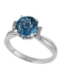 Effy | London Blue Topaz Ring With Diamond Accent | Lyst