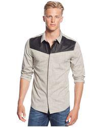 Guess | Gray Textured Slub Slim-fit Shirt for Men | Lyst