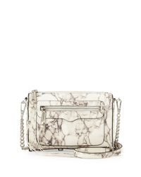 Rebecca Minkoff - Gray Avery Marble-Print Cross-Body Bag - Lyst