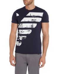 Armani Jeans | White Slim Fit Half Eagle Logo Printed T-shirt for Men | Lyst