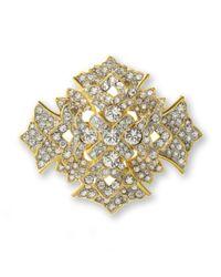 Kenneth Jay Lane | Metallic Crystal Cross Brooch | Lyst