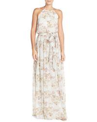 Donna Morgan | Pink 'alana' Print Chiffon Halter Style Gown | Lyst