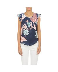 Banjanan - Blue Ruffle-Sleeve Tropical Floral Top - Lyst