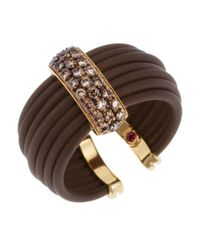 Roberto Coin | Women's Diamond Brown Polyurethane And 18k Yellow Gold Ring | Lyst