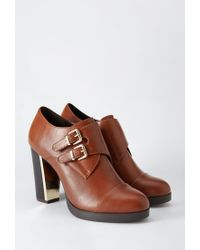 Forever 21 | Brown Buckled Metallic-heel Bootie | Lyst
