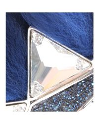 Fendi - Blue Embellished Fox Fur Ear Cuff - Lyst