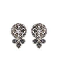 Mikey - Black Fillagary Design Rnd Crystal Earring - Lyst