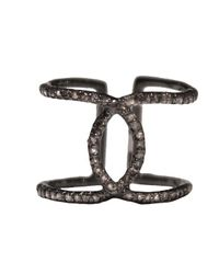 Adornia - Metallic Champagne Diamond And Sterling Silver Interlock Ring - Lyst