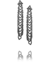 Kenneth Jay Lane | Metallic Gunmetal-plated Crystal Earrings | Lyst