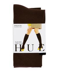 Hue | Brown Flat Knit Knee Socks | Lyst