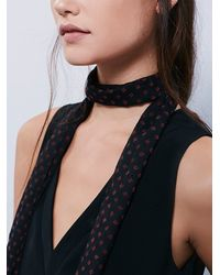 Free People | Gray Rebel Rebel Printed Skinny Scarf | Lyst