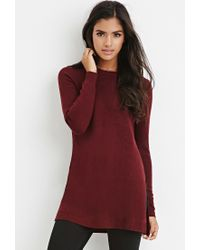 Forever 21 | Purple Side-slit Sweater Tunic | Lyst