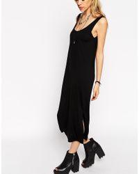 ASOS - Black Vest Midi Dress With Side Splits - Lyst