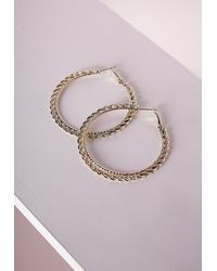 Missguided - Metallic Thin Chain Hoop Earrings Gold - Lyst