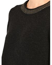 Vince - Gray Foil-Trim Wool And Yak-Blend Sweater - Lyst
